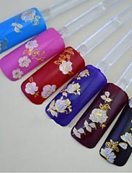 abordables -24pcs de mezclado de color rosa de oro flores elegantes decoraciones de uñas pegatina de uñas
