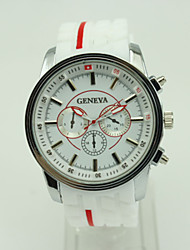 cheap -Men's Wrist Watch Quartz Fashion PU Band Casual Black - White Black Red