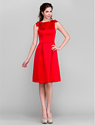 A-Line Bateau Neck Knee Length Satin Bridesmaid Dress with Bow(s) by LAN TING BRIDE®