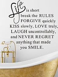 cheap -Wall Stickers Wall Decals, Life is Short English Words & Quotes PVC Wall Stickers