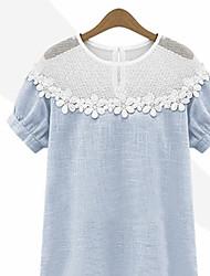De las mujeres Simple Casual/Diario Verano Camiseta Manga Corta Azul / Gris Fino