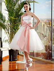 cheap -Ball Gown Strapless Knee Length Tulle Made-To-Measure Wedding Dresses with Bowknot / Sash / Ribbon by LAN TING BRIDE®