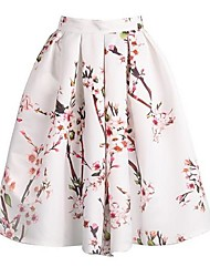 cheap -Women's Floral Print Knee-length Vintage Skirts, Satin Micro-elastic