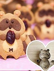 5 Stykker Tegneserie Vaskebjørn Form Cookie Klipper, Der, Rustfrit Stål