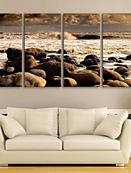 cheap -E-HOME® Stretched Canvas Art The Sea Beach Decorative Painting Set of 4