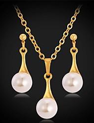 Недорогие -u7®water падение жемчужные серьги ожерелье 18k реальное золото платина покрытием серьги падения кулон свадебный комплект ювелирных изделий