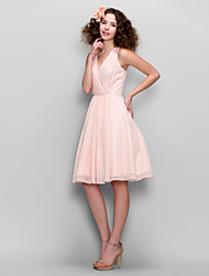 cheap -A-Line V Neck Knee Length Chiffon Bridesmaid Dress with Ruched / Lace Insert by TS Couture® / Beautiful Back