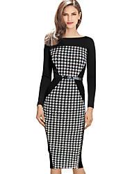 Monta ženske modne povremeni hounstooth haljina