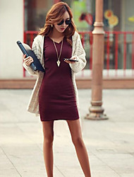 Women's Solid Bodycon Dress with V-neck