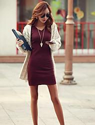 baratos -Mulheres Moda de Rua Algodão Tubinho Vestido Sólido Decote V Acima do Joelho / Primavera / Outono / Inverno