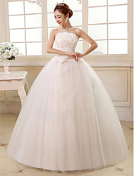 cheap -Ball Gown Strapless Floor Length Satin Tulle Wedding Dress with Sequin Flower Side-Draped by QQC Bridal