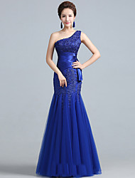 Fit & Flare One Shoulder Floor Length Lace Tulle Formal Evening Military Ball Dress with Lace by Yaying