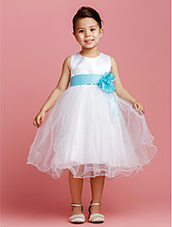 Ball Gown Tea Length Flower Girl Dress - Satin Tulle Sleeveless Jewel Neck with Flower by thstylee