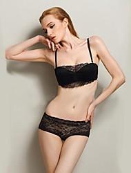 Demi-cup Bras & Panties Sets , Push-up/Underwire Bra Cotton/Lace