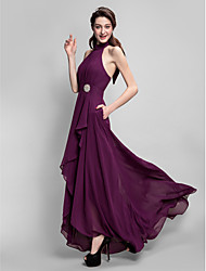 cheap -A-Line High Neck Asymmetrical Chiffon Bridesmaid Dress with Bow(s) Draping Pockets Crystal Brooch by LAN TING BRIDE®