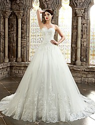 cheap -Ball Gown Sweetheart Chapel Train Lace Wedding Dress with Appliques Buttons by LAN TING BRIDE®