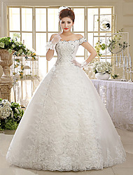 cheap -Ball Gown Off Shoulder Floor Length Lace Over Tulle Custom Wedding Dresses with Beading Sequin Appliques by QQC Bridal