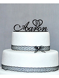 Cake Topper Personalized Wedding / Anniversary / Birthday Black Classic Theme PVC Bag