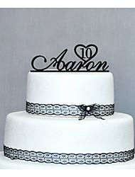 Cake Topper Personalized Wedding / Anniversary / Birthday Black Classic Theme PVC Bag