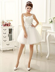 cheap -A-Line / Princess Strapless Short / Mini Lace / Tulle Bridesmaid Dress with Lace / Flower / Pleats by