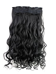 cheap -24 Inch 120g Long Black Synthetic Curly Clip In Hair Extensions with 5 Clips