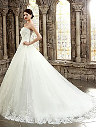 cheap -Ball Gown Sweetheart Chapel Train Corded Lace Custom Wedding Dresses with Appliques Buttons by LAN TING BRIDE®