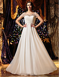 cheap -A-Line Scoop Neck Floor Length Chiffon Custom Wedding Dresses with Beading Criss-Cross by LAN TING BRIDE®