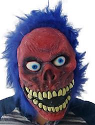 Недорогие -красное лицо зло голубыми волосами латексной маски для Хэллоуина