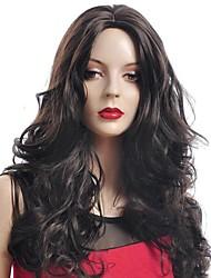 Donna Parrucche sintetiche Lungo Castano scuro parrucca del costume costumi parrucche