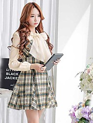 economico -Pink Doll® Women's Fashion Plaid Pattern Woolen Dress