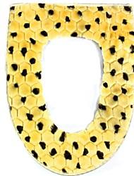 estilo leopardo luxo warm-mantendo algodão + pelúcia almofada mat pad wc - amarelo + marrom