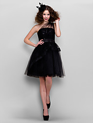 A-Line One Shoulder Knee Length Tulle Prom Dress with Lace by TS Couture®