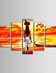 cheap -IARTS Oil Painting Modern Landscape Fruit Basket African Women Set of 5 Hand Painted Canvas with Stretched Frame