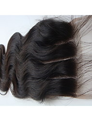 "cheap -4x4 Brazilian Virgin Hair Lace Top Hair Closure Body Wave 3 Part 14"" Natural Black 1Pc"
