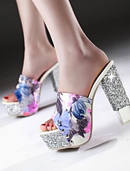 cheap -Women's Shoes Leatherette Spring / Summer / Fall Chunky Heel Blue / Orange