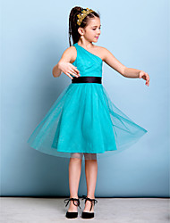 A-Line One Shoulder Knee Length Tulle Junior Bridesmaid Dress with Sash / Ribbon by LAN TING BRIDE®
