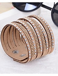 cheap -Hot Drill Bangle Handmade Rivet Velvet Bracelet Bling Rhinestone Wrap Leather Bracelet Jewelry Gifts
