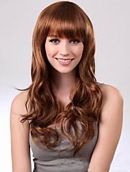 Недорогие -Парики из искусственных волос Жен. С чёлкой Парик Длинные Темно-коричневый