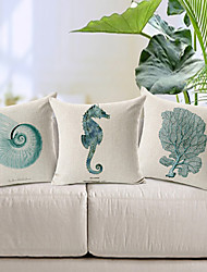 cheap -Set of 3 Modern Style Sea Animal Patterned Cotton/Linen Decorative Pillow Cover