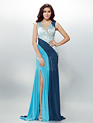 cheap -Sheath / Column V Neck Sweep / Brush Train Chiffon Cocktail Party / Formal Evening / Holiday Dress with Beading Crystal Detailing Side