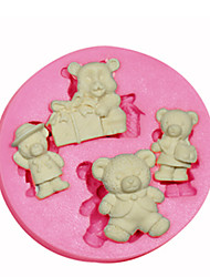 cheap -Cartoon Shape Teddy Bear Silicone Mould Cake Decorating Silicone Mold For Fondant Candy Crafts Jewelry PMC Resin Clay
