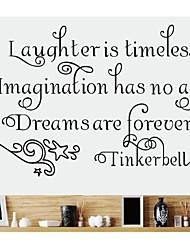decalques de parede adesivos de parede, tinkerbell palavras inglesas&cita parede pvc adesivos