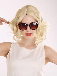 זול -פאות סינתטיות מתולתל בלונד תספורת בוב שיער סינטטי שיער טבעי בלונד פאה בגדי ריקוד נשים קצר ללא מכסה בלונד בהיר
