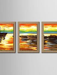 pintura a óleo moderna set seascape abstrata de 3 pintados à mão de linho natural, com quadro esticado