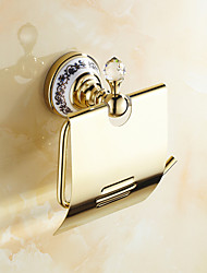abordables -Porte Papier Toilette Néoclassique Laiton Cristal Céramique 1 pièce - Bain d'hôtel
