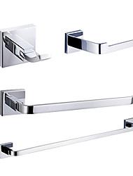 baratos -Jogo de Acessórios para Banheiro Moderna Latão 4pçs - Banho do hotel barra da torre Robe Hook Suportes de Papel Higiénico