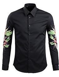 Masculino Camisa Casual Estampado Manga Comprida Algodão Preto