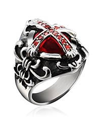 cheap -Cool Inlay Zircon Ruby Cross Stainless Steel Men's Ring Jewelry Christmas Gifts