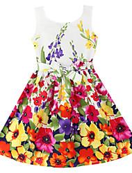 Vestito Girl Fantasia floreale Cotone naturale Estate / Primavera Rosso