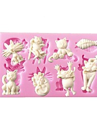 economico -mini cartoon animal stampo in silicone forma di pesce gatto per le arti di cioccolato Cupcake decorazione& mestieri